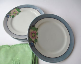Vintage Lustre Blue Floral Salad Plates Set of Four - Cottage Chic