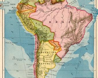 Original Antique Edwardian Political  Map of South America Galapagos Islands  Rand McNally 1903