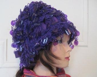 Royal Purple, MOD 1960s Shaggy Sequin Hat  - vintage winter warm Italian Wool