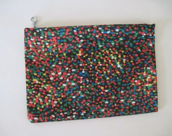 Pixelate - MOD 1960s Cosmetic Case, vintage nylon Zippered Pouch