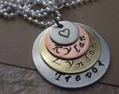 Mommy Necklace - Personalized Necklace - Four Disc Necklace - Silver Brass and Copper Handstamped Necklace Mother Mommy Mom Grandma Jewelry