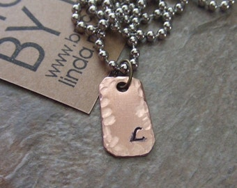 Initials Necklace, Personalized Necklace, Rustic Copper Necklace, Initial Necklace, Letter Necklace, Sweet 16 Gift, Graduation Gift, Pendant
