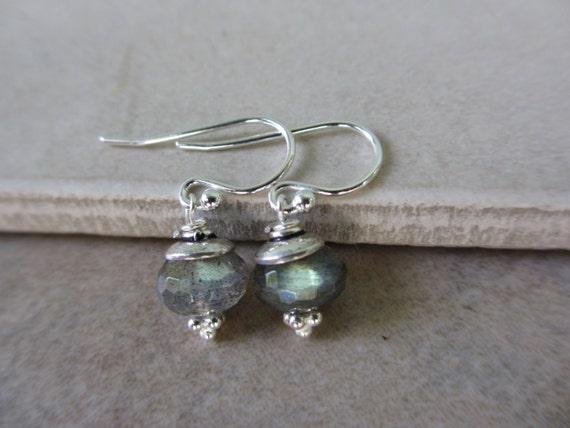 Labradorite Sterling Silver Earrings, Green, Rondelle, Small, Irisjewelrydesign