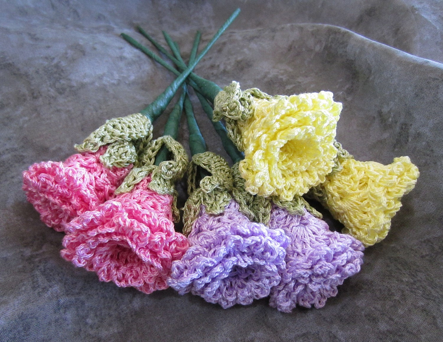 Free Crochet Long Stem Rose Pattern : Rose Stems Six Crocheted Flowers