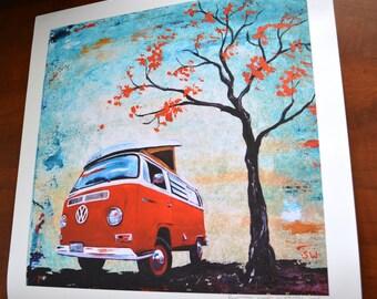 1970 Red Volkswagen Camper Bus Print, men, gift, present