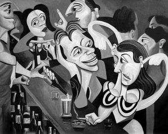 Talking Sweet Nothings At The Bar Print club lounge Drinking Smoking Partying Woman Man Anthony Falbo