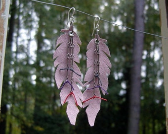 dusty pink leather quill feathers, long leather feathers trimmed in antique silver chain