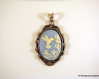 Antique Silver Frame Bezel Cameo Cabochon Pendant Setting 42x25mm - Tray 25x18mm - 1 pc - 6172-M