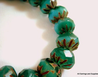 10 Turquoise Picasso Cruller Czech Faceted Glass Bead 9x6mm - 10 pc - G6042-TP10
