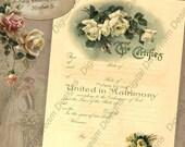 Printable Wedding Certificate Marriage Certificate Instant Download No 5 Vintage Victorian Wedding Digital Download DIY Wedding Shower Gift