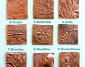 Qty 2 Solid Copper Blanks with Asst Texture Option - for Patina or enameling - Free Shipping USA