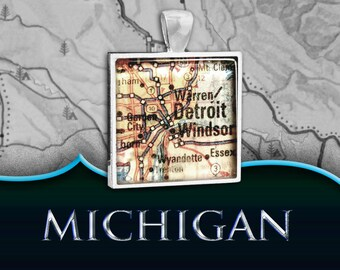Detroit, MI Map Pendant