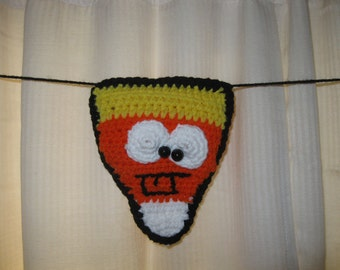 Hand Crocheted Candy Corn Halloween Banner Decoration