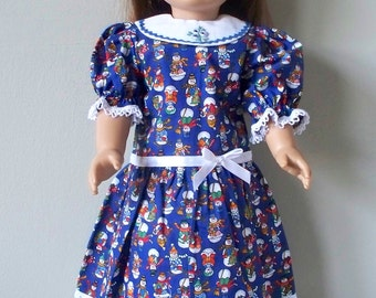 Handmade Clothes Christmas dress with Snowmen 18 inch doll Handmade Doll Dresses