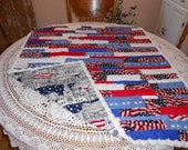 Quilt American Red White Blue Stars Chenille Cotton Strippy Scrappy Patchwork Lap Boy Girl Baby