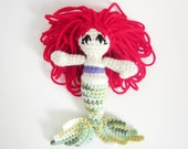 Child Friendly Amigurumi Doll: Red Hair Mermaid Toy in Purple and Greens Yarn - Crocheted, Designed by The Silver Hook
