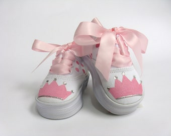 Princess Shoes, Girls Hand Painted Birthday Sneakers, Crown or Tiara for Baby or Toddlers