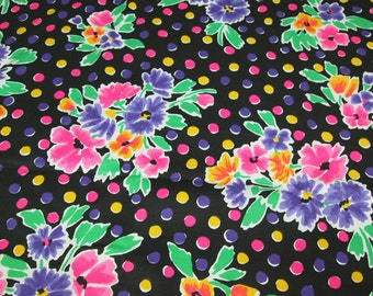 vintage 80s stretch denim fabric, featuring awesome flower and polka dot design, 1 yard, 2 available priced PER YARD