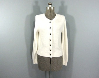 Vintage White Cardigan, 1970s Sweater, Black Buttons, Classic, Traditional, Basic, Ribbed Edging, Size Small, Size Medium