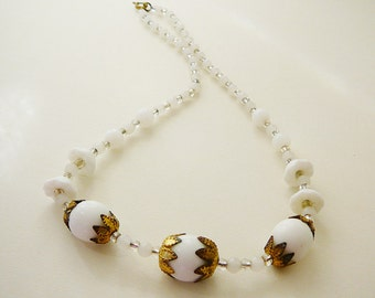 Vintage .. Necklace Czech Milk Glass White Clear Gold Tone Brass Flower Caps Spring vintage bride