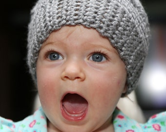 Medium Grey Hat Cap Hand Crocheted Baby Girl