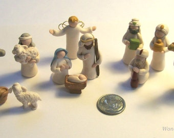 Miniature Nativity, Full Feature Set, 13 Piece Creche, 1 Inch Figures, Tiny Animals, Wise Men, Shepherd Boy, Mary and Joseph, Baby Jesus