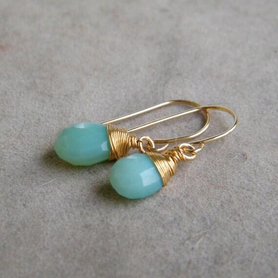 CLEARANCE SALE up tp 70% OFF - Aqua Blue Chalcedony Earrings, Wire Wrapped Gemstone Earrings