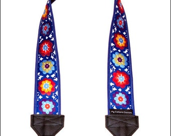 Lacy Flowers on Blue SLR Camera Strap