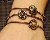 Steampunk Victorian - 3 Bracelets - Mexican brown lab opal - Vitrail swarovski crystal - Metal bronze bead