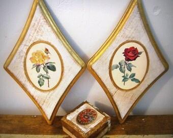 Italian Florentine Plaque Pair Diamond Shaped Roses