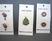 Christmas Buttons - JHB Brand - Metal - Hand Painted -  Candy Cane -  Wreath  - Price per Card