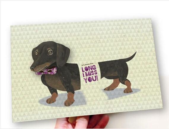 Printable PDF Cute Dachshund Dog Miss You Card by ArtistInLALALand
