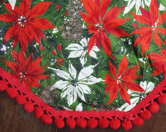 Christmas Tablecloth- Holiday Table Cloth- Red Pom Pom Ball Trim- Red White Green Poinsettia- Xmas Decor- Oval Oblong Rectangle Table Linens