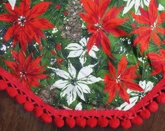 Christmas Tablecloth Oval Oblong Pom Pom Ball Trim - Red Green White Poinsettia Flower Print Design- Holiday Floral Table Cloth - Rectangle