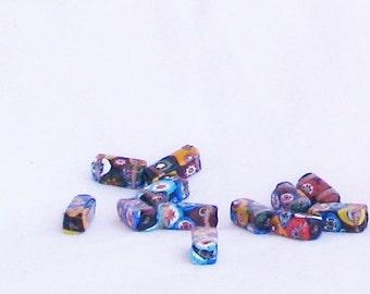 beads, multicolor, rectangle, 12 pieces, gold metallic paint, C, destash