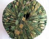 Ladder Ribbon Yarn, BRILLIANT HERBS, green gold wide ribbon yarn, trellis yarn, Maxi 43