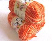 ORANGE TONES Cotton Yarn,  candy corn yarn yellow pumpkin orange, worsted weight, dishcloth cotton, Creme de la Creme, halloween