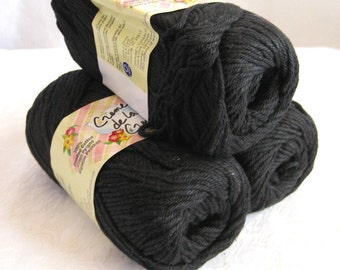 Creme de la Creme BLACK Cotton Yarn,  worsted weight