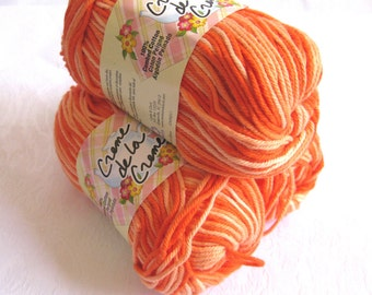 ORANGE TONES Cotton Yarn,  candy corn yarn yellow pumpkin orange, worsted weight, dishcloth cotton, Creme de la Creme, halloween