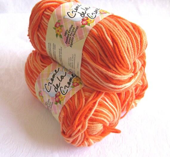 ORANGE TONES Cotton Yarn,  candy corn yarn yellow pumpkin orange, worsted weight, dishcloth cotton Creme de la Creme