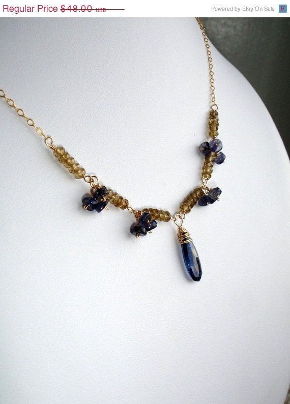 CIJ Sale Blue Kyanite Necklace with Iolite and Golden Quartz in 14k gold  - Love these Blues