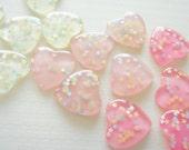 9 pcs Clear Star Sprinkles Heart Cabochon (27mm) IK124