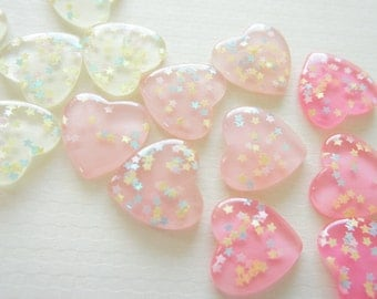 9 pcs Clear Star Sprinkles Heart Cabochon (27mm) IK124 (((LAST)))