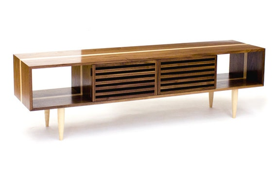 Bucks media console modern solid walnut and by wrenandcooper Modern media console