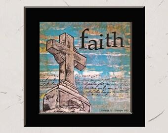 Faith, 8x8 Paper Print, Inspirational Mixed Media Word Art, Collage, Christian Decor