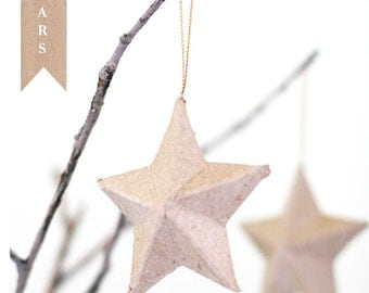 Set of 3 Paper Mache 3D Kraft Star Ornaments 3.25 inch