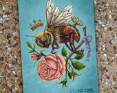 Shabby Chic Vintage Journal Sketch Blank Book - Bee Love Color
