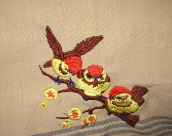Kitchen Towel with Three Chickadees