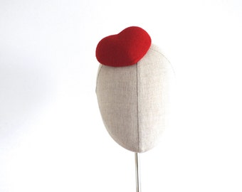 Mini Red Heart Cocktail Hat Fascinator