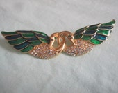 Enamel and Rhynestone Love Birds Brooch